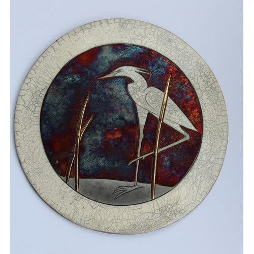 Egret I Border Raku Wall Plaque