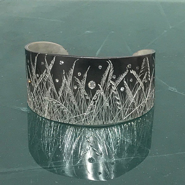 Hand Engraved Meadow Grass Cuff w/ Diamonds
