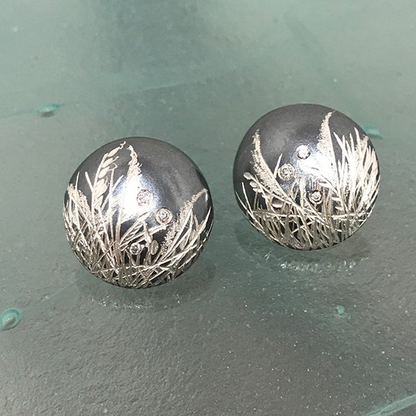 Round Button Earrings w/ Diamonds