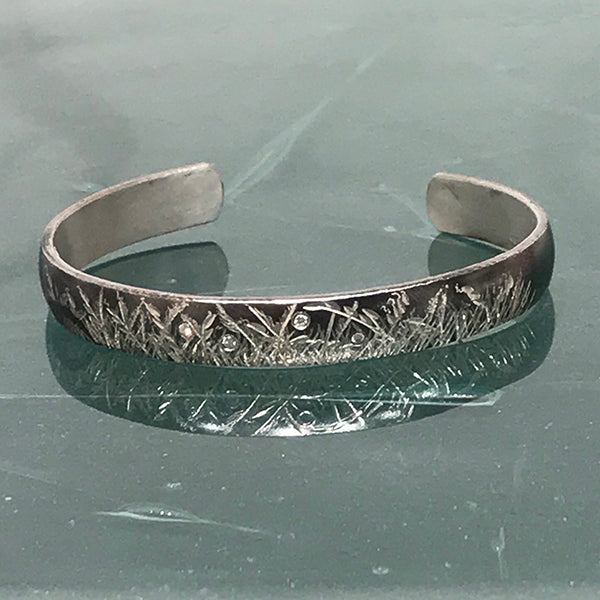 Oxidized Cuff w/ Diamonds