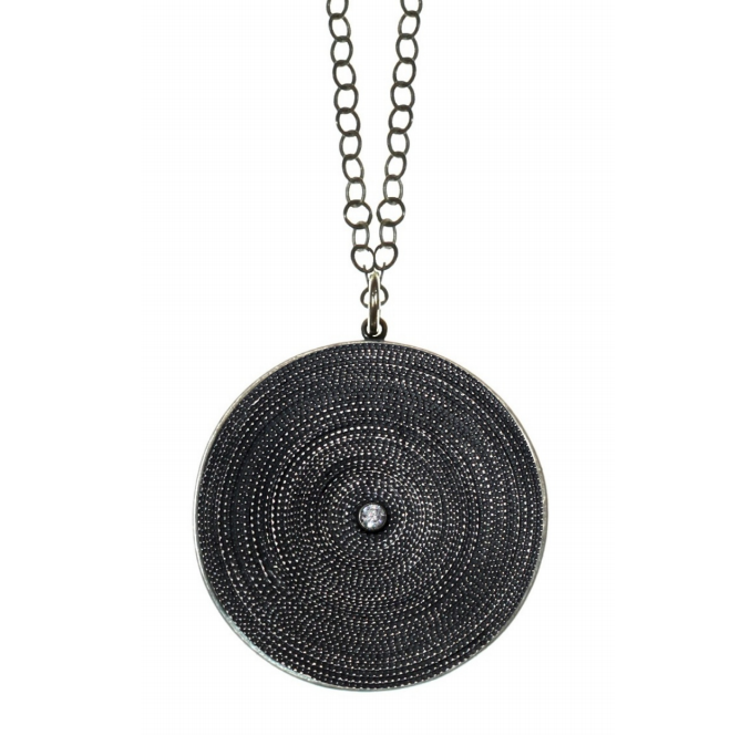 Oxidized grooved disc necklace