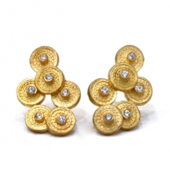 Gold plated Overlapping Grooved Disc Clip Earrings