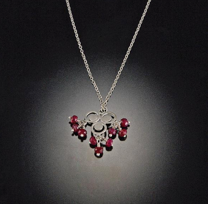 Filigree Dot Trio Necklace with Ruby Clusters
