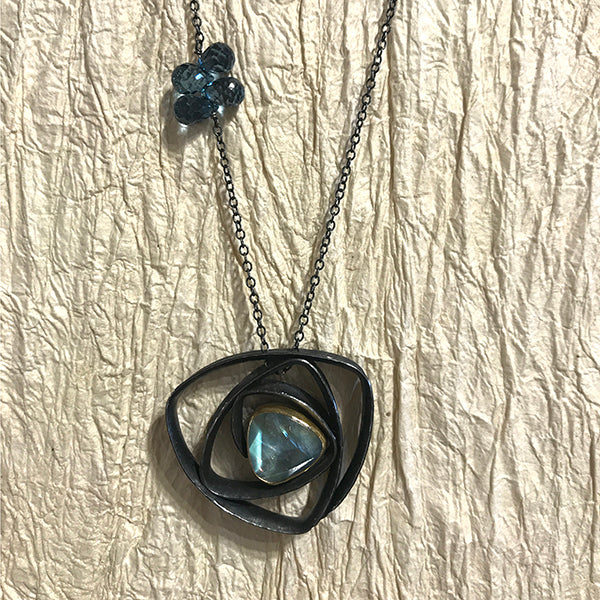 Labyrinth Necklace w/ rose cut moonstone, blue topaz