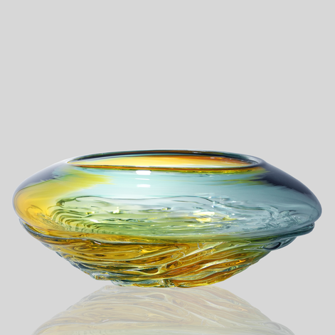 Small Ripple Wave Bowl - Lagoon & Gold