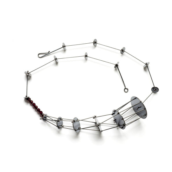 Beaded Cornucopia Necklace, oxidized sterling