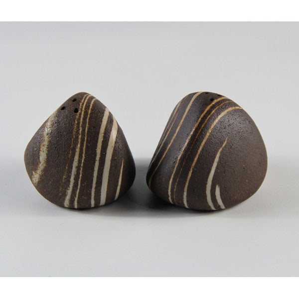 Rock Salt & Pepper Shakers-Brown Swirl