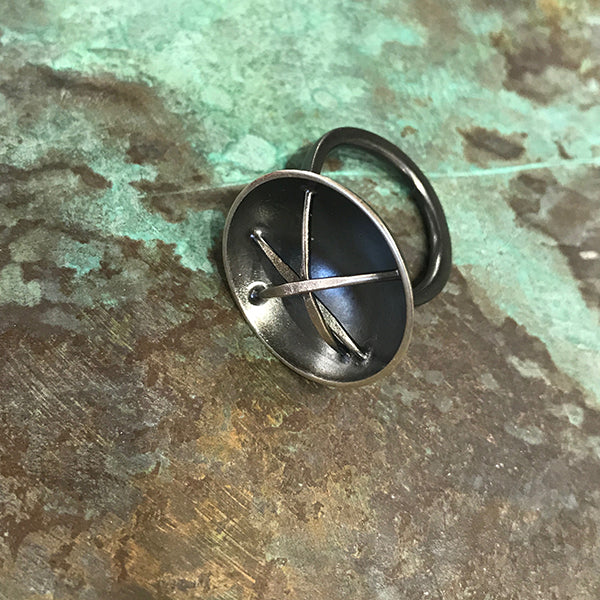 Small Nest/Cup Oxidized Silver Ring