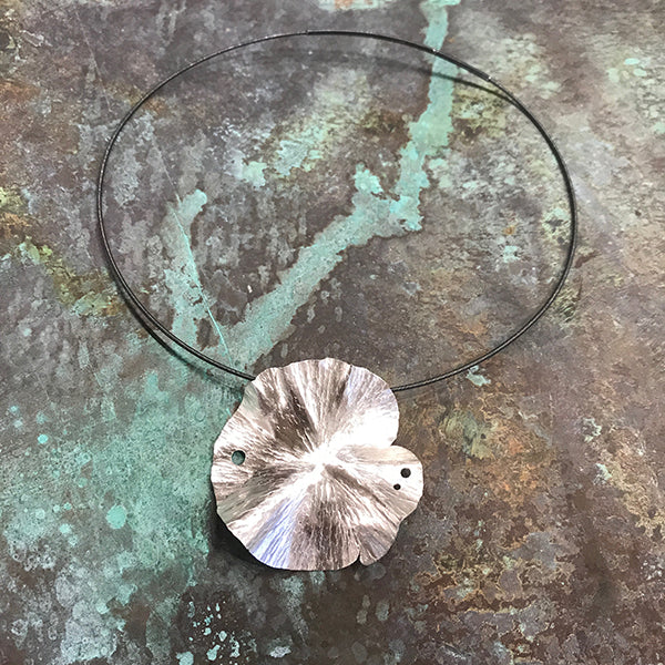 Medium Lily Silver Necklace on Oxidized Wire