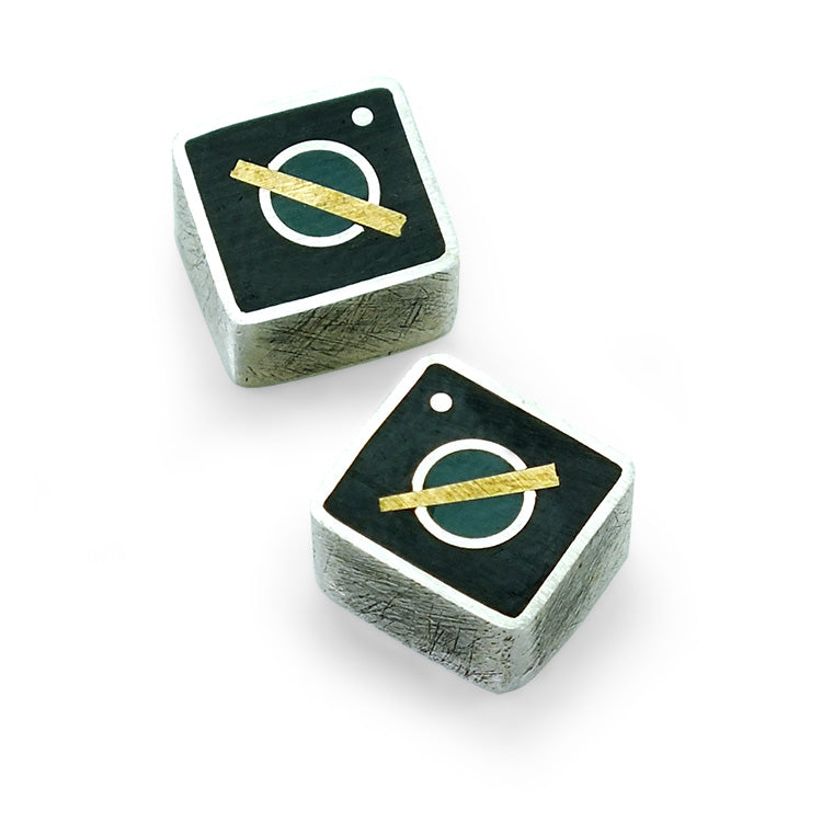 Aqua/Black Bar Stud earrings