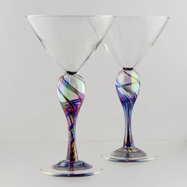 Martini pair - rainbow iridescent