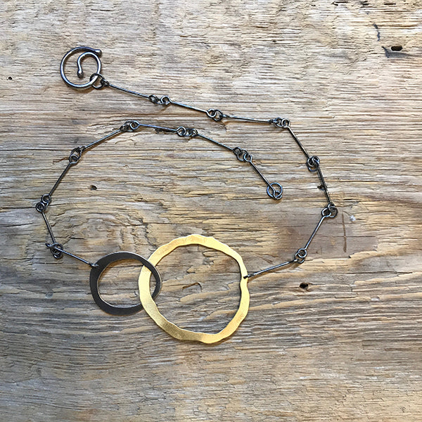 Oxidized Sterling & Vermeil Interlocked Circle Necklace