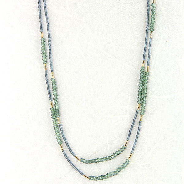 Grey seed with green quartz and goldfill beads