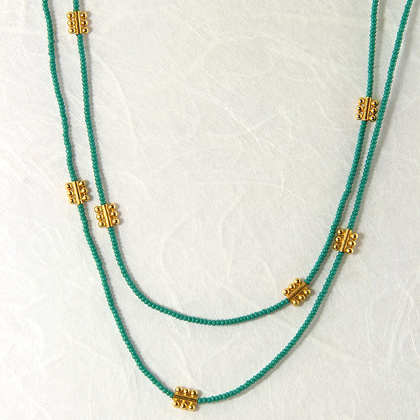 Vermeil and jade necklace