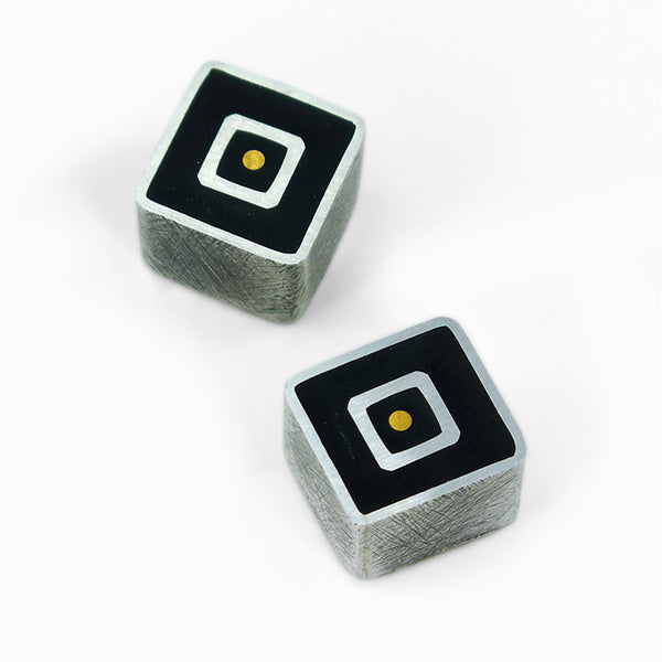2X Black Square Stud Earrings
