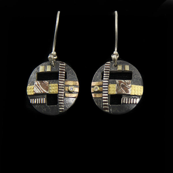 Sterling Patina Mokume Round Earrings