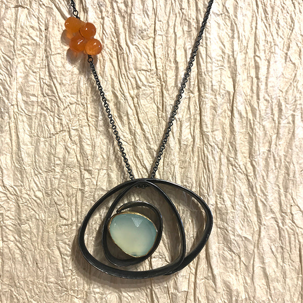 Labyrinth Necklace w/ rose cut aqua chalcedony & carnelian