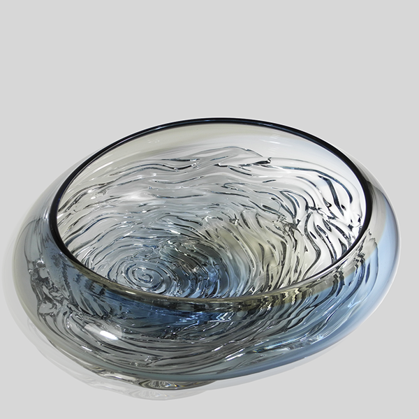 Small Ripple Wave Bowl - Steel Blue & Grey