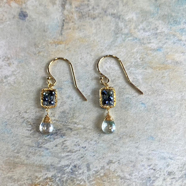 Sapphire Ombre/coated Aquamarine Box Earrings