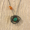 Labyrinth Necklace w/ rose cut chrysoprase & carnelian