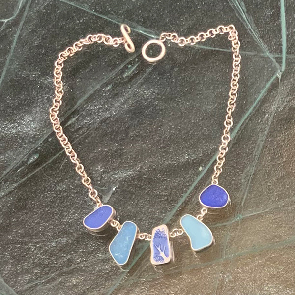 Five Bezel Silver Necklace - Blues