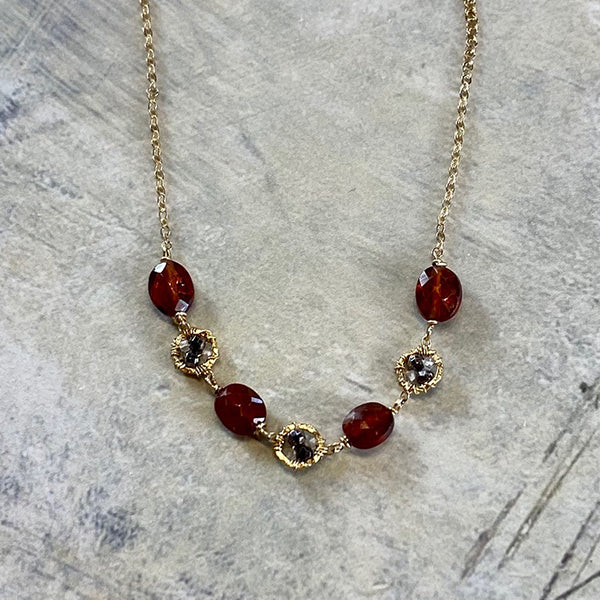 "Granite & Hessonite 16""-17"" Necklace"