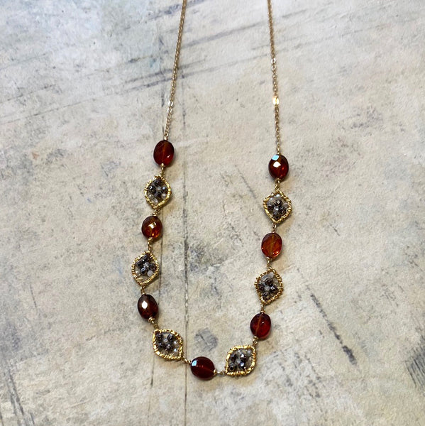 Granite & Hessonite Necklace