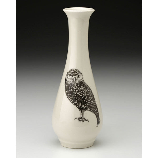 Bud vase with burrowing owl