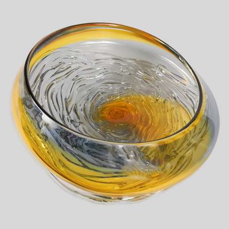 Small Ripple Wave Bowl - Gold & Steel Blue