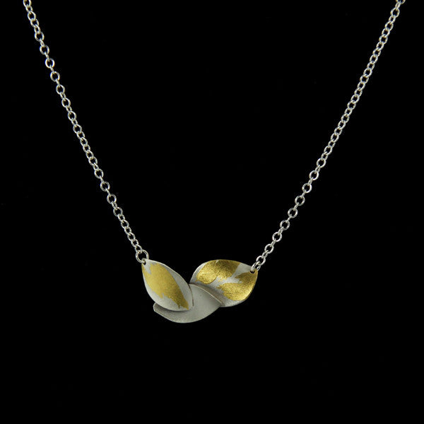 Silver and Gold Leaf Pendant Necklace