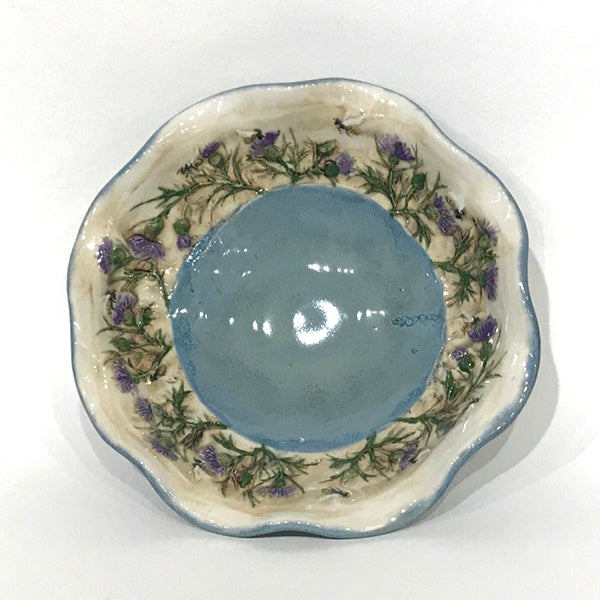 Small bowl with blue glaze, thistle and honeybee - wavy rim
