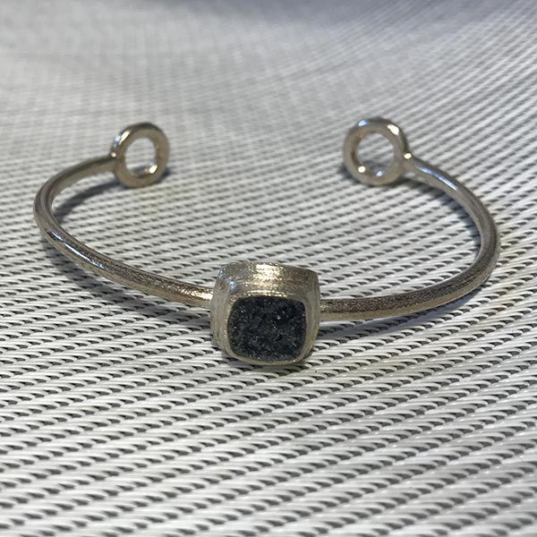 Square cabochon cuff bracelet with blue tourmaline