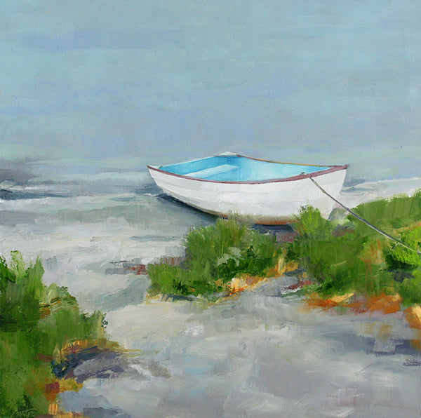 painting of beached rowboat