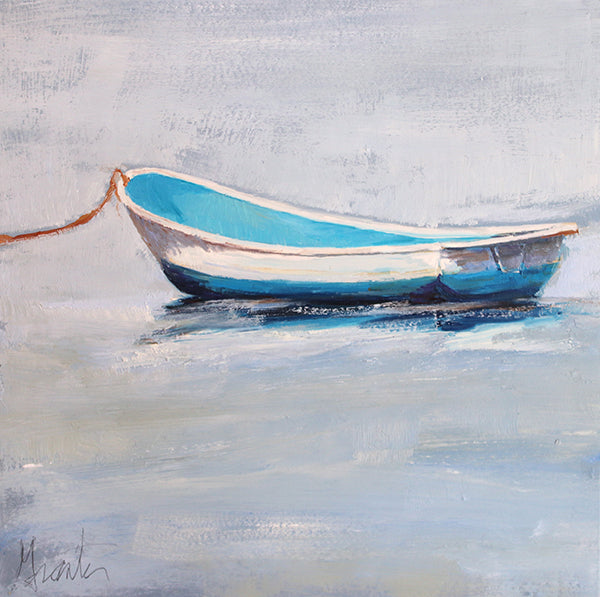 painting of anchored boat in calm water