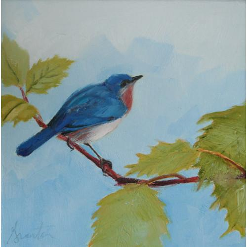 painting of bluebird on branch
