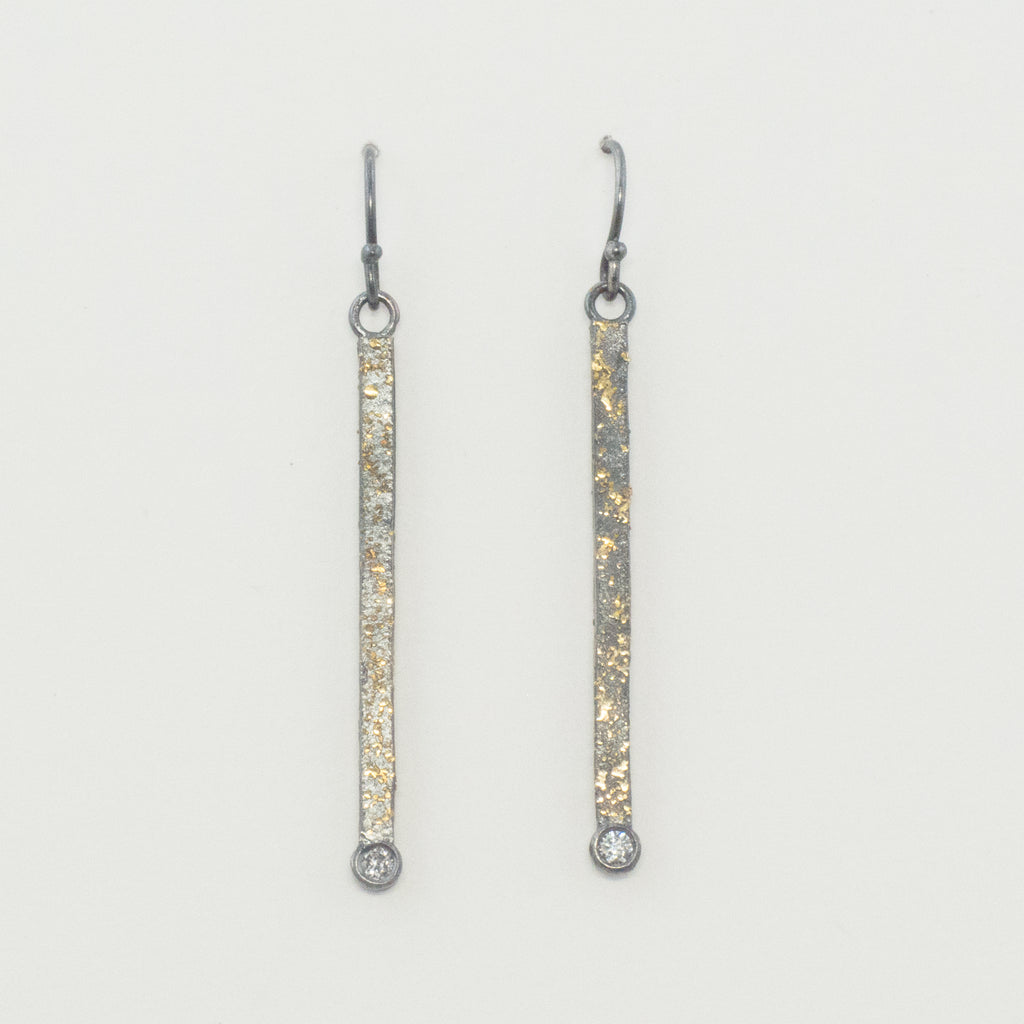 Spacescape Dangle Earrings with diamonds
