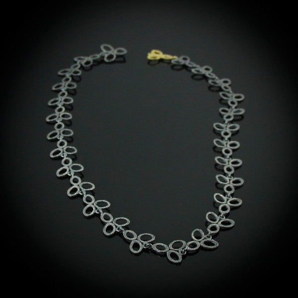 Oxidized Silver Leaf Necklace with 18k Gold Clasp