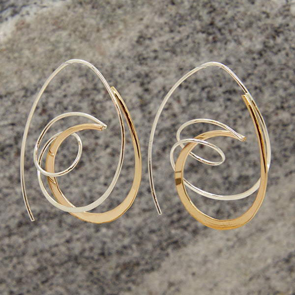 Sterling and Gold Fill Elliptical Wrap Earrings