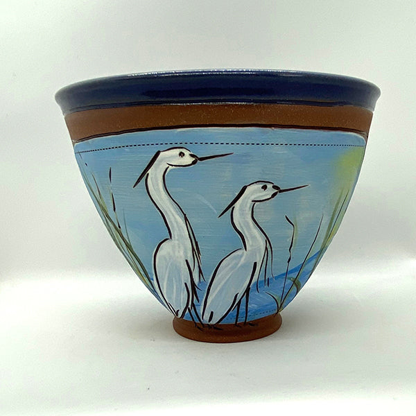 "Egret Bowl by Jennifer Stas  7"" x 4.25"" side with two herons"