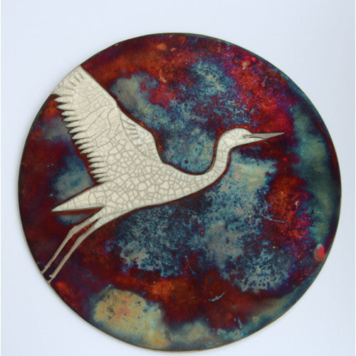 Egret III - Raku Wall plaque