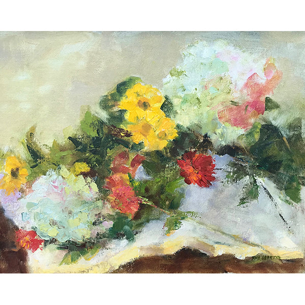 Flowers on White Cloth