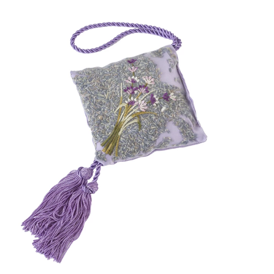 Lavender Hanging Sachet in Embroidered Silk