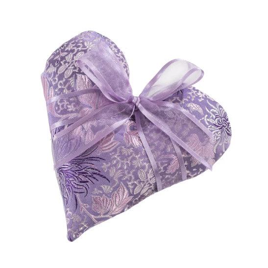 Lavender Heart Sachet in Chrysanthemum