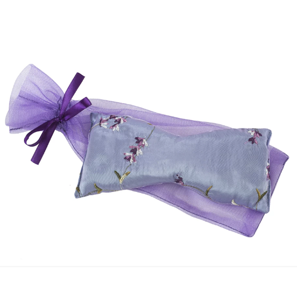 Lavender Eye Pillow in Lilac Embroidered Silk