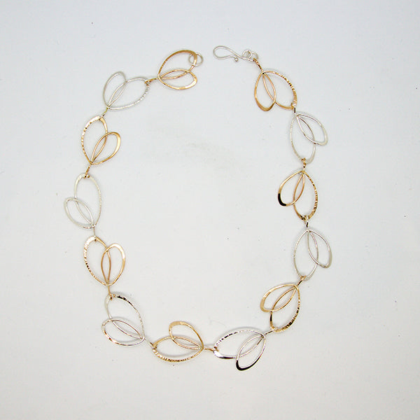 Sterling and Gold Fill Open Leaf Necklace