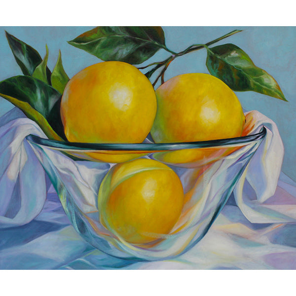 Lemons in Glass Bowl II