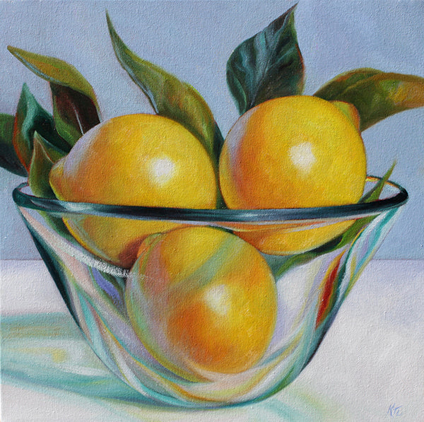 Lemons in Glass Bowl III