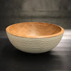 Large Cherry Bowl with Milk Paint Exterior