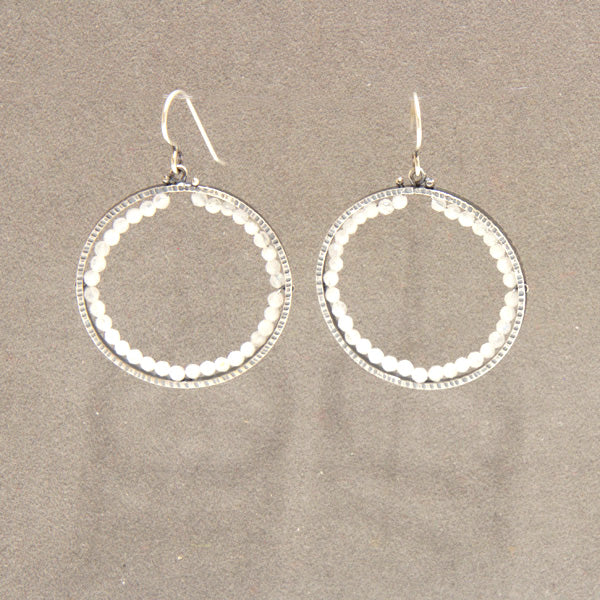 Large Circle Earrings with Rainbow Moonstone