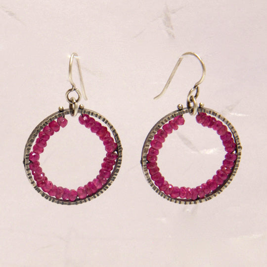 Medium Circle Geode Earrings with Rubies